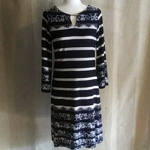 Haani Striped and Mock Lace Shift Dress